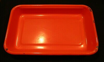 Early 1900's Orange Porcelain Baking Dish-2.5 x 10.25 x 16.25- Rare Color