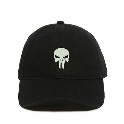 Punisher Skull Baseball Cap, Embroidered Dad Hat, Unstructured Six Panel, Adjust