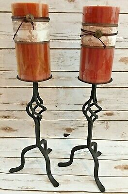 """Pair of Vintage Wrought Iron Black Pillar Candle Holder 15"""" high"""