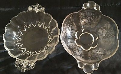 Lot of 2 Clear Etched Depression Glass Candy Dish Bon-Bon Plate Two Handle VTG
