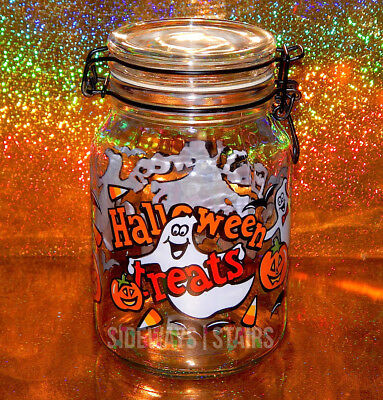 "8"" ANCHOR HOCKING HALLOWEEN TREATS CANISTER bail jar w/ lid ghosts candy corn"