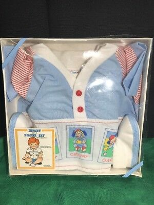 VINTAGE CATTON CANDY Infant Baby Boy's Diaper Set Booties Baseball 0-6 Months