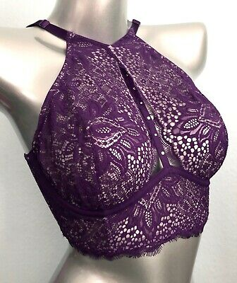 bacb16d2eaf Victorias Secret New Very Sexy Unlined Plunge Purple Lace Halter Long Line  Bra