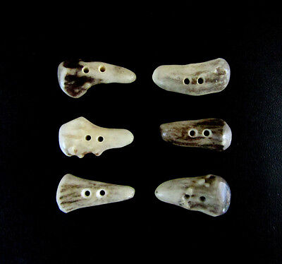 """Premium Antler Buttons,1  1/4""""Toggles,Tines,6 Bumpy Pieces,3/32"""" Hole,114-42"""