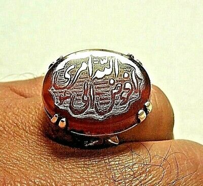 Natural Persian Yemen aqeeq agat carnelian Engraved 925 Silver men ring 14-gm