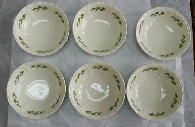 """6 Lot  Wedgwood QUEEN'S HOLLY Christmas  Cereal Bowl 1991 ENGLAND- 6 1/4"""""""