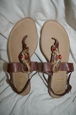 29366a629 Miss Trish for Target Womens Lizard Sandals Brown Leather 9.5 Flats Shoes