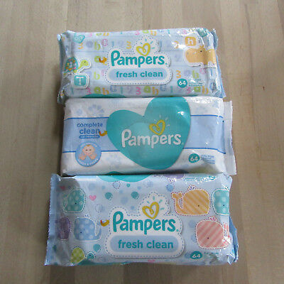 3 x Pampers - Fresh & Clean Baby Wipes - 3 X 64 Wipes.