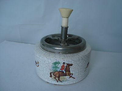 Vintage Silberdistel Fayencen Roulette Ashtray Crackle Glaze Horses Fox Hunting