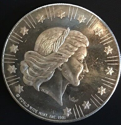 1981 World Wide Mint Toned American Eagle 1oz .999 Fine Proof Silver Round