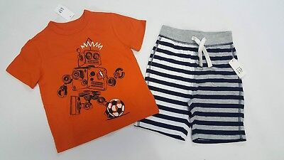 NWT Boys Baby Gap Outfit 18 24 Months 2t 3t Orange Robot Soccer Shirt & Shorts