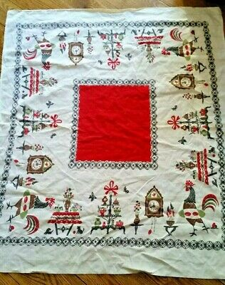 VTG Broderie Creations Tablecloth White/Red/Black/Brown Rooster, Farmhouse 32X36