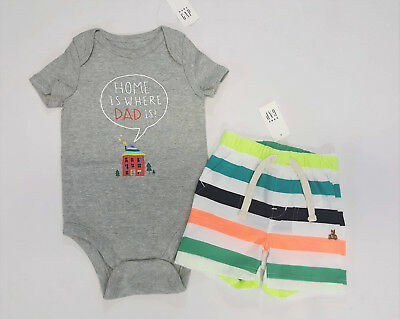 NWT Boys Baby Gap Size 3 6 12 Months Home is Daddy Top & Bright Striped Shorts