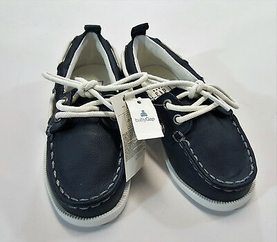 NWT Baby Gap Boys Size 8 or 10 Navy Blue Boat Loafers Slip On Shoes Nautical