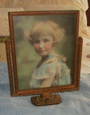 Antique Victorian Standing Swing Picture Frame & Photo of a Little Girl