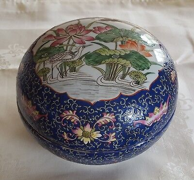 antique Chinese porcelain wedding box circa 1890 - circular / bowl shaped - blue
