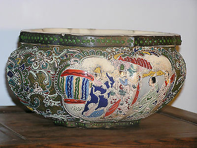 Japanese Hand-Painted Story Scenes applied Moriage and Beads Porcelain Bowl