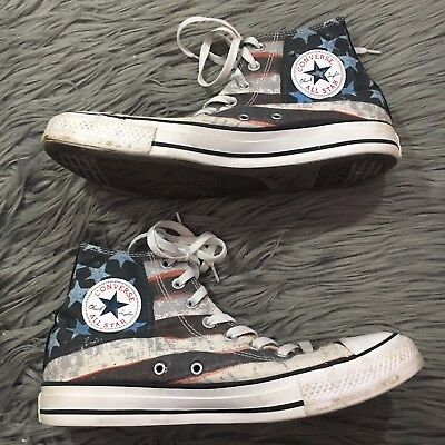 c406ccce16c3 Converse All Star American Flag Stars Stripes High Top Mens 9 Women 11 Red  White