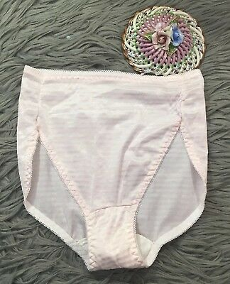 VTG Shiny Silky Panties Pink White Striped Made USA Sz L Hi Cut Leg Briefs