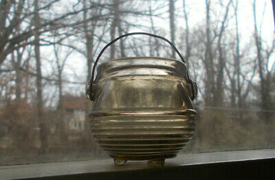 Vintage 3 Legged Kettle Cooking Pot Glass Toothpick Match Holder With Handle