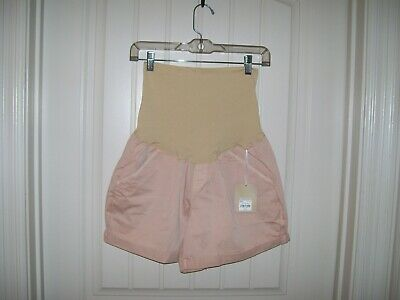 a82e9d78c709c Maternity A:glow Women's Belly Panel Twill Cameo Rose Shorts Size 14 Retail  $44