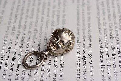Antique Novelty Victorian Solid Silver Baby Head Bell Rattle Pendant