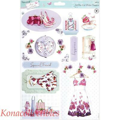 """PAPERMANIA LUCY CROMWELL GLITTER TOPPERS /""""HOME/"""" GREAT FOR CARDS /& CRAFTS"""
