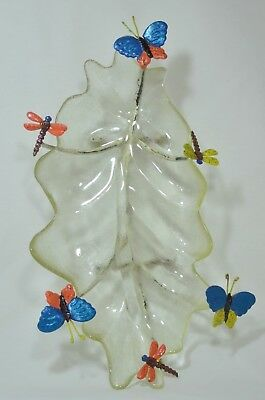 Vintage  Leaf Shaped Pressed Glass Dish / Bracket with Butterflies & Dragonflies