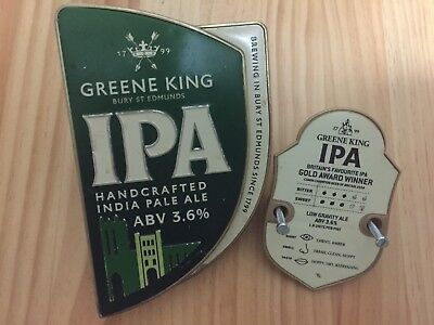"English Greene King ""INDIAN PALE ALE"" Heavy Metal Tap Top Badge / Decal"