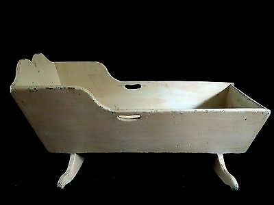 "Old Antique Large Wood 41"" Rocking Cradle Primitive Early Doll Display Infant"