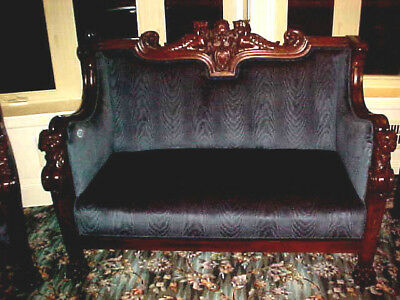 3 Piece Antique Gothic Suite Hand Carved Solid Wood Hunter Green Velvet Fabric