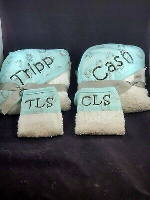 CUSTOM EMBROIDERED BABY Hooded Towel & washcloth set*PERSONALIZED Shower gift!!!