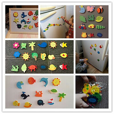 12Pcs Wooden Cartoon Sun Fish Fridge Magnet Stickers Education Kid Art Decor