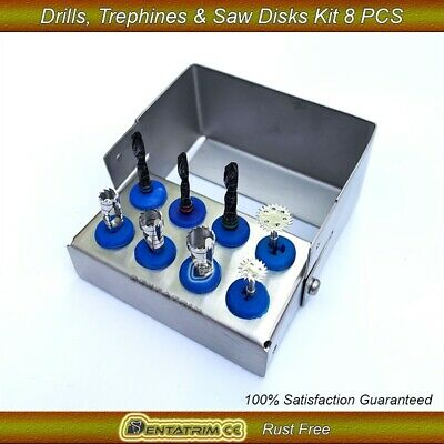 Dental Drills,Saw Disks & Trephine Drills Kit Surgical Trimmer Implant Tools