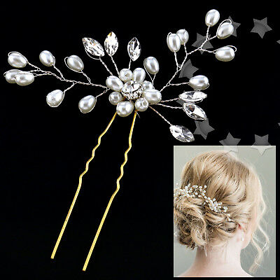 Wedding Bridal Pearl Flower Crystal Hair Pins Bridesmaid Fashion Clips Side Comb
