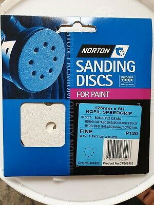 Sanding Disc Velcro 125mm 8 Hole 120 Grit Pk5 Hook and Loop