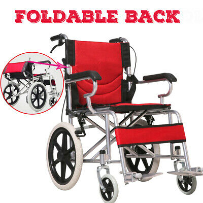 Aluminium Alloy Transport Folding Wheelchair Light Weight Manual Mobility Aid AU