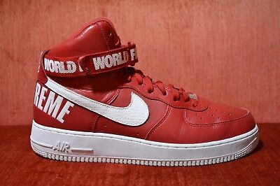 NIKE AIR FORCE 1 High Supreme World Famous Red White Sz 13 w