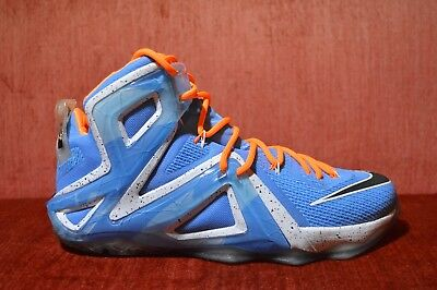 584c4e45355 WORN 2X Nike Lebron XII 12 Elite University Blue Black White 724559 488  Size 10