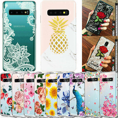 For Samsung Galaxy S10 Plus S10e S10 Flower Patterned Clear Silicone Case Cover