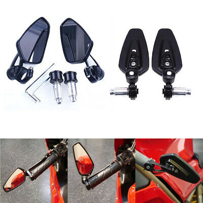 """2x Motorcycle 7/8"""" Handle Bar End Rearview Mirrors for Suzuki Cafe Racer Bobber"""