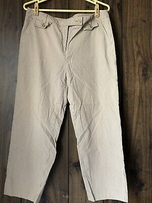 TALBOTS  Womens Beige/white/brown Striped  Cropped Capri Pants Sz 12