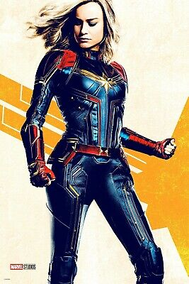 Y-75 Captain Marvel 2019 Movie Brie Larson New Marvel Hot Fabric Poster 18 24x36