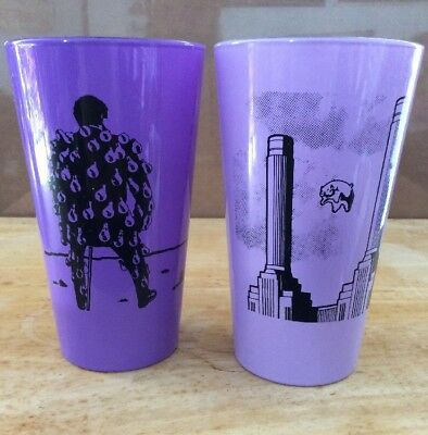 Lot Of 2 PINK FLOYD Pint Drinking Glasses, Animals, Wish You Were Here, Purple