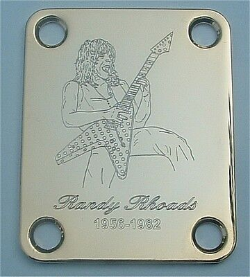 GUITAR NECK PLATE Custom Engraved Etched - RANDY RHOADS Ozzy - GOLD