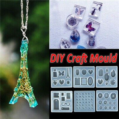 Heart Butterfly Crystal Epoxy Pendant  DIY Silicone Jewelry Making Mold Resin