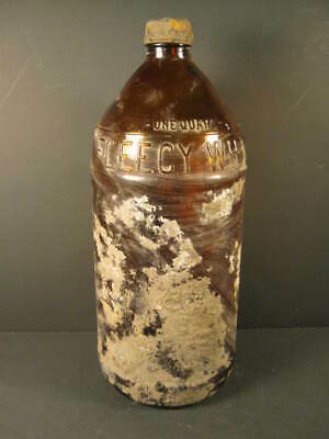 Old Brown Amethyst Translucent Studded Geometric Art Glass Bottle ~air Bubbles Glass