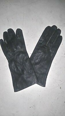 Womens vintage leather gloves black size 8 small W4inch spandex lining