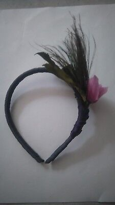 blue headband fasinator with pink flowers /peacock feather