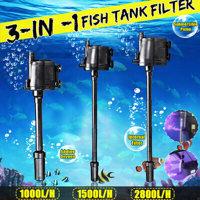3 in 1 Aquarium Wave Power Internal Purifier Filter Water Pump Fish Tank AU
